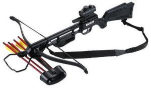 """Спортен арбалет с автоматичен предпазител. В комплекта има четири броя алуминиеви стрели 16"""". Без бързомер,колчан и ремък за носене."""